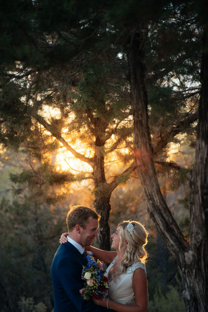 The sunset at the wedding ceremony