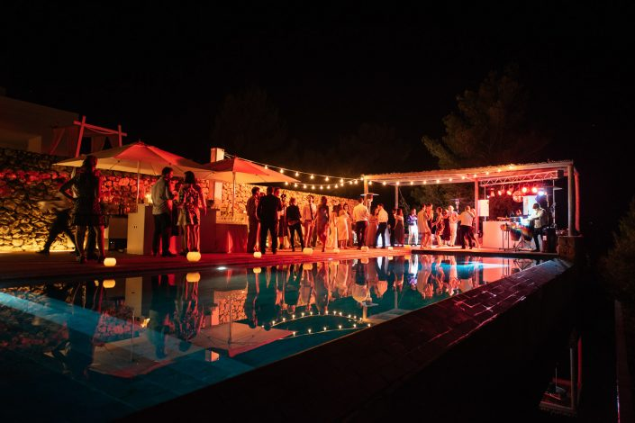 Night time photography of a beautiful Ibiza wedding
