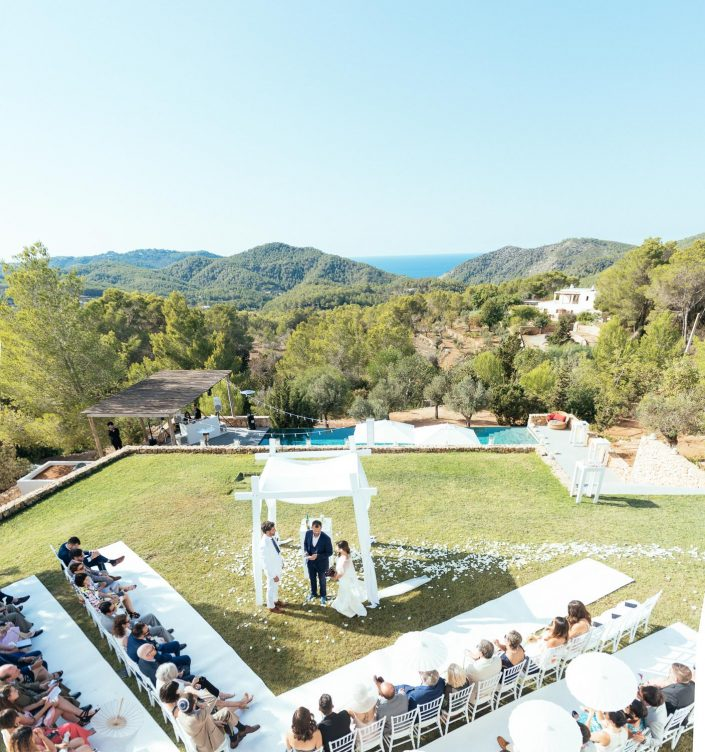 The set up for the ceremony in Ibiza. The most important moment of the wedding.